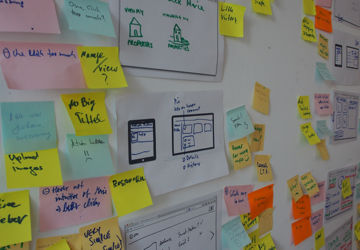 A picture displaying a strucutred wall of graphics and post-its.