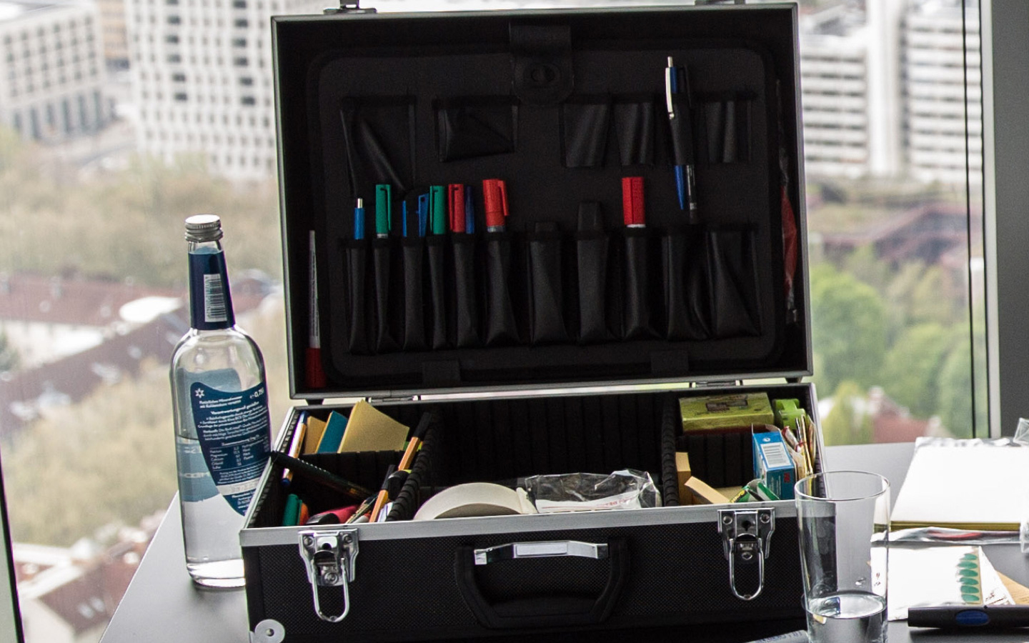 Right tools for the right products – A picture showing my workshop toolbox, full of sharpies and post-its.